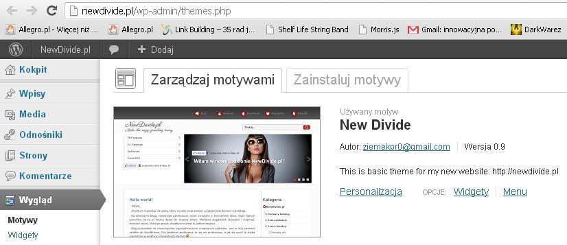 WordPress tutorial aktywacja motywu