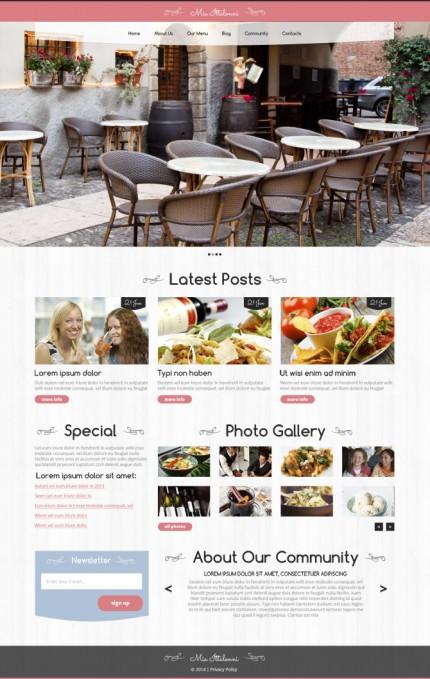 Zrzut ekranu motywu WP dla restauracji