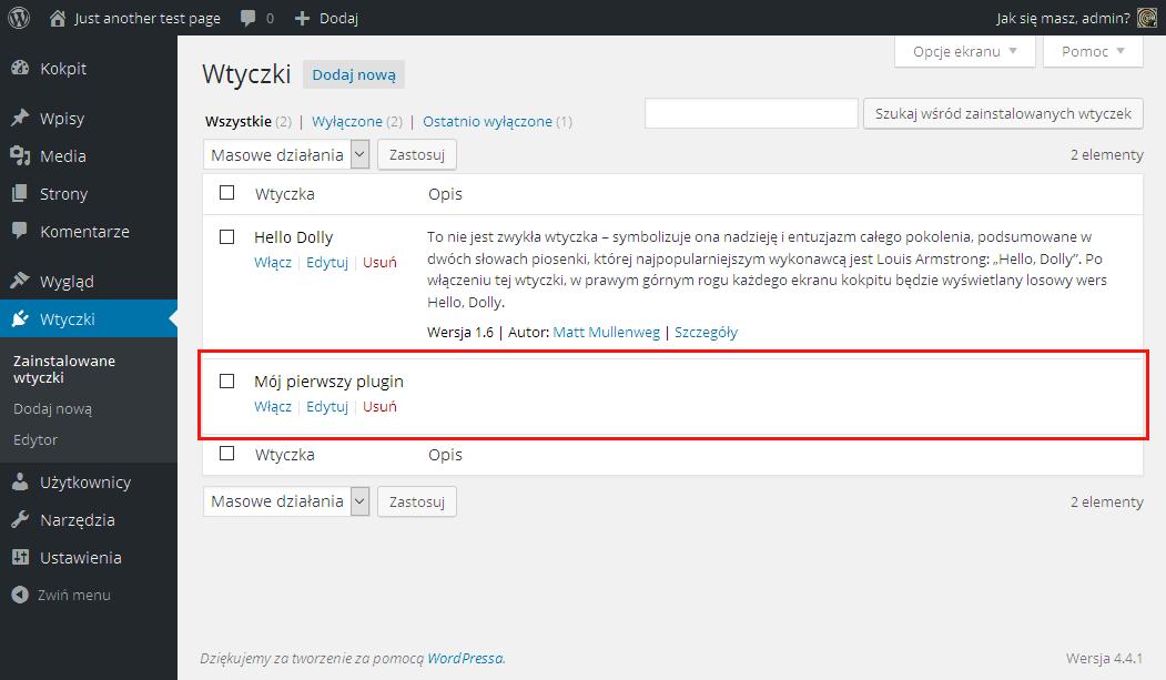 WordPress prosty plugin Plugin widoczny w kokpicie