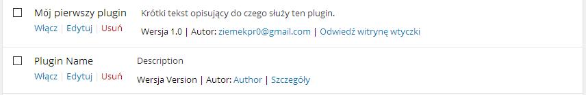 WordPress prosty plugin dodatkowe pola w nagłówku pluginu