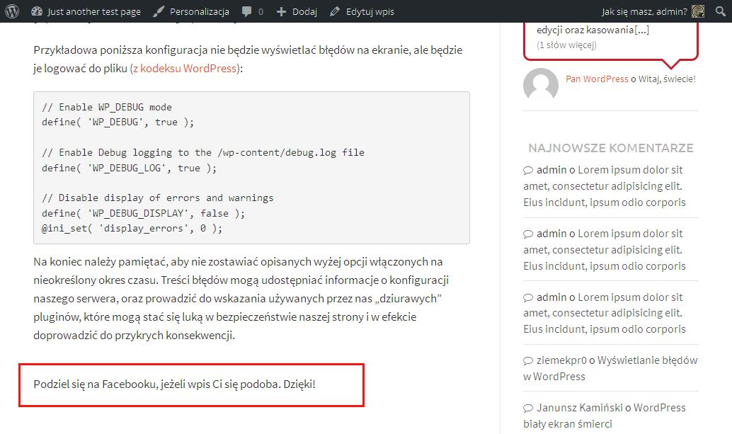 WordPress prosty plugin Gotowy plugin