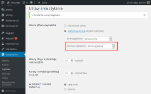 WordPress Strona intro
