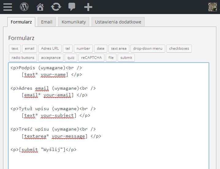 Contact form 7 kod formularza