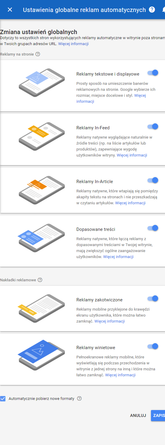 Reklamy automatyczne Google AdSense