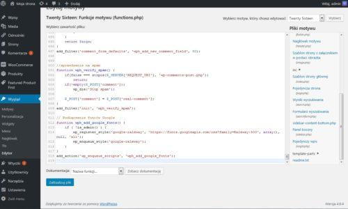 Edycja functions.php w WordPress