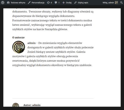 O autorze, jak dodać w WordPress