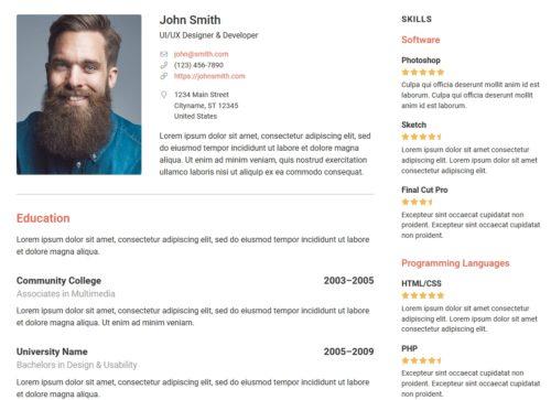 Przykładowe CV w WordPress